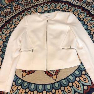 Calvin Klein white scuba stretch blazer. Size 4